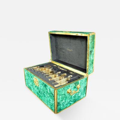 Louis Comfort Tiffany Malachite Box with Tiffany Co Silver Flatware