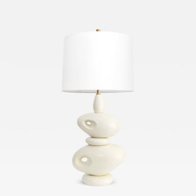 Louis Drimmer FRENCH MID CENTURY STACKED STONES CERAMIC LAMP