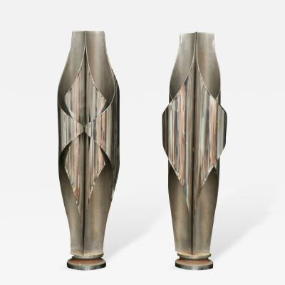 Louis Durot Rare Pair of Stainless Steel Sculptural Lamps by Louis Durot