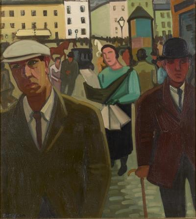 Louis Fran ois Decoeur Louis Francois Decoeur Namen 1884 Namen 1960 Rue Anim e Oil on Canvas