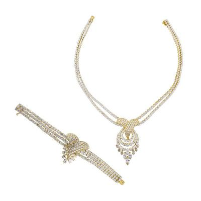 Louis Gerard M Gerard Diamond Bracelet and Necklace Suite
