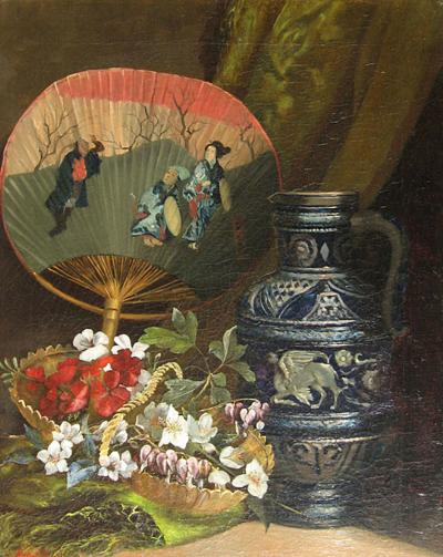 Louis Henri Saintin Still Life with Oriental Fan