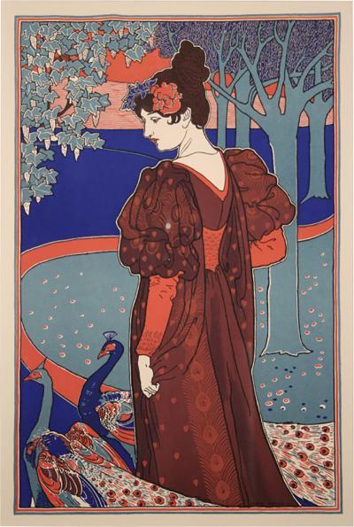 Louis John Rhead La Femme au Paon by Louis Rhead 1897