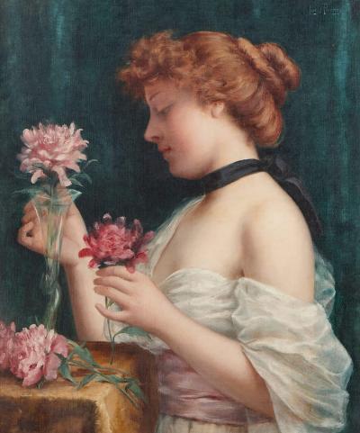 Louis Justin Maurice Perrey Le Bouquet des Fleurs antique oil painting by Perrey