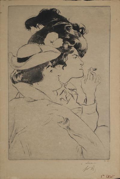 Louis Legrand ON SALE Deux Femmes a French Belle Epoque Aquatint by Louis Legrand 1899