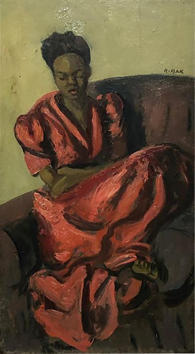 Louis Leon Ribak Louis Leon Ribak Oil ainting ruby in red Social Realist Style
