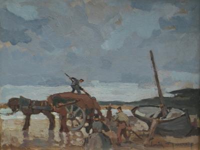 Louis MAUREY Les Goemoniers dans la Plage de Kerou a Le Pouldu