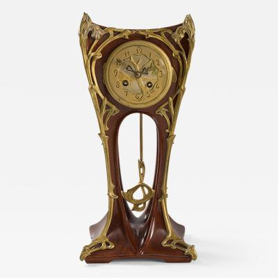 Louis Majorelle Art Nouveau Mahogany Mantel Clock by Louis Majorelle