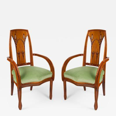 Louis Majorelle French Art Nouveau Beach Wood Armchairs by Louis Majorelle