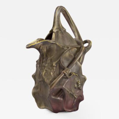 Louis Majorelle French Art Nouveau Ceramic Gourd Vase by Majorelle