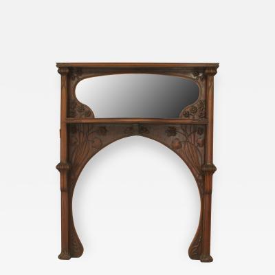 Louis Majorelle French Art Nouveau Mahogany Fireplace Mantel