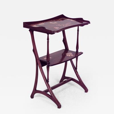 Louis Majorelle French Art Nouveau Mahogany Floral Inlaid Rectangular End Table