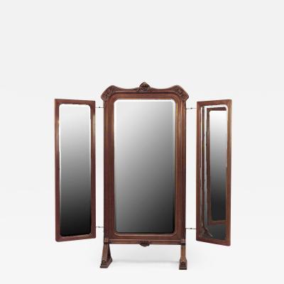 Louis Majorelle French Art Nouveau Walnut 3 Way Triptych Cheval Mirror