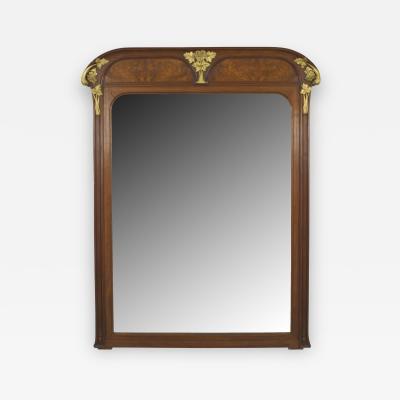 Louis Majorelle French Art Nouveau Walnut Beveled Glass Wall Mirror