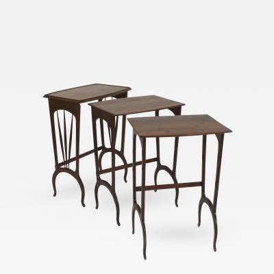 Louis Majorelle French Art Nouveau Walnut Rectangular Nest of 3 Tables