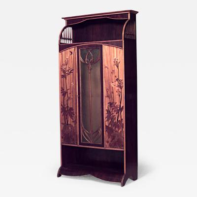 Louis Majorelle French Art Nouveau Walnut and Inlaid Floral Design 3 Door Armoire Cabinet