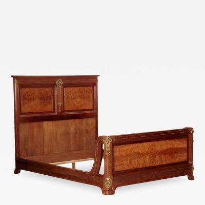 Louis Majorelle Louis Majorelle Pirouette Figured Mahogany Bed circa 1910