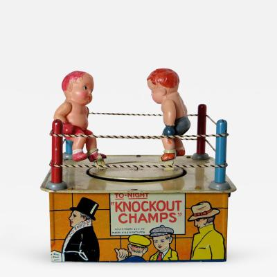 Louis Marx and Company Wind Up Toy KnockoutChamps with Original Box Circa 1930