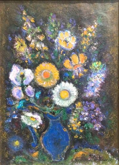 Louis Merchand De Raux Still Life in Blue Vase