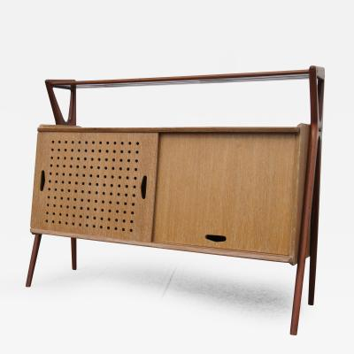 Louis Paolozzi Cerused Oak Mahogany Bar Cabinet by Louis Paolozzi for Ren Godfroid