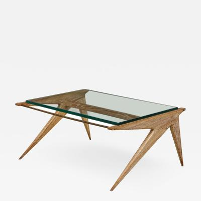 Louis Paolozzi Oak and Glass Table by Louis Paolozzi France c 1950