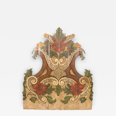 Louis Philippe 19th Century Portugese Polycromed Headboard