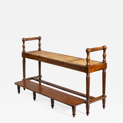 Louis Philippe Mahogany Hall Bench With A Folding Foot Rest