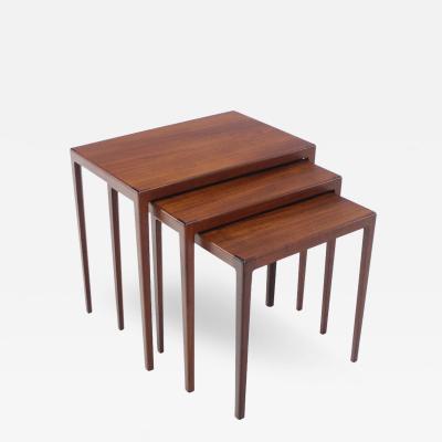 Louis Pontoppidan Set of Three Danish Modern Nesting Tables Designed by Ludvig Pontoppidan