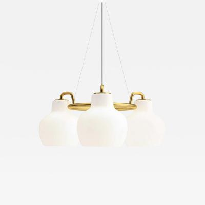 Louis Poulsen Vilhelm Lauritzen 3 Shade Brass Glass Ring Chandelier for Louis Poulsen
