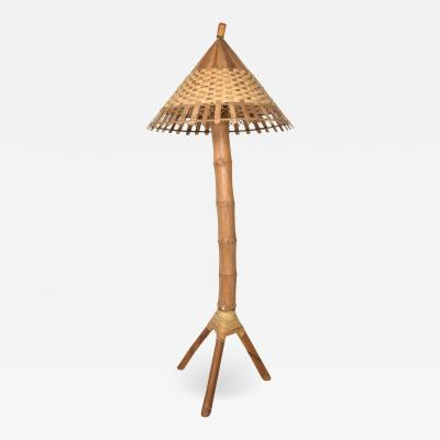 Louis Sognot 1950s Tall Bamboo Tripod Floor Lamp Woven Cone Shade Delightful Oriental Design