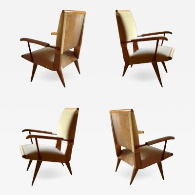 Louis Sognot Louis Sognot Awesome Rare Set of 4 Lounge Chairs with Red Lacquered Wrought Iron