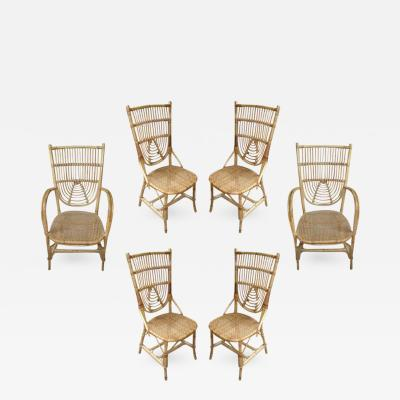 Louis Sognot Louis Sognot French Riviera Set of 2 Armchairs and 4 Chairs in Rattan