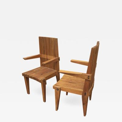 Louis Sognot Louis Sognot Pair of Awesome Architectural Arm Chairs