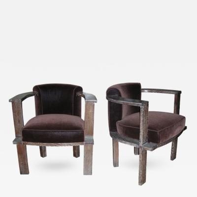 Louis Sognot Louis Sognot Rarest Modernist Pair of Arm Chairs in Cerused Oak