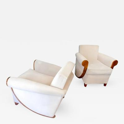 Louis Sognot Louis Sognot Superb Comfortable Pair of Club Chairs in Cerused Oak