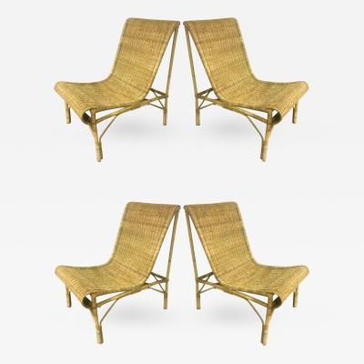 Louis Sognot Louis Sognot Superb set of Rattan Slipper Chairs in Perfect Vintage Condition