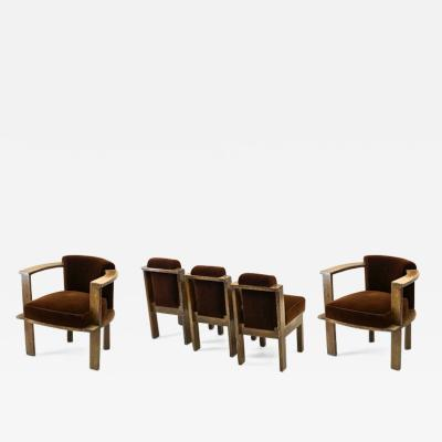 Louis Sognot Louis Sognot rarest modernist oak office chair and seat set