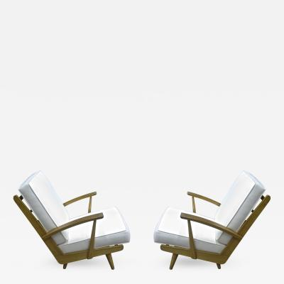 Louis Sognot Pair of Comfy Ash Tree Fifties Lounge Chairs attributed to Louis Sognot