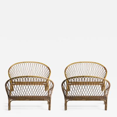 Louis Sognot Pair of rattan beds Louis Sognot around 1955