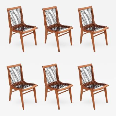 Louis Sognot Set of Six Sculptural Louis Sognot Dining Chairs France 1950