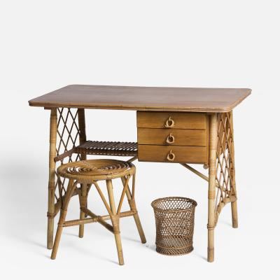 Louis Sognot Small desk stool and wastepaper basket in rattan by Louis Sognot 1892 1970