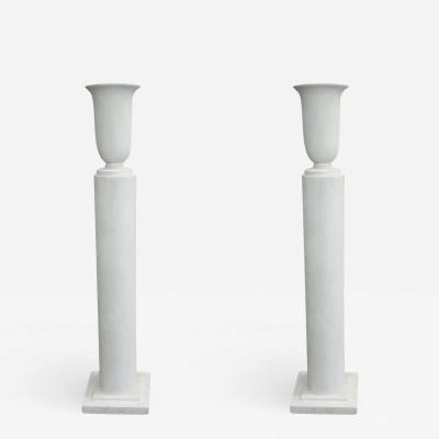 Louis Sue Pair French Mid Century Modern Plaster Column Floor Lamps Attr Louis Sue 1930