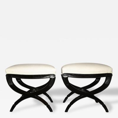 Louis Sue and Andre Mare S e and Mare Pair of Stools in Macassar Wood Circa 1925 France