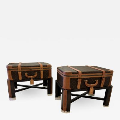 Louis Vuitton Pair Louis Vuitton Luggage End Tables Nightstands custom bases Rare