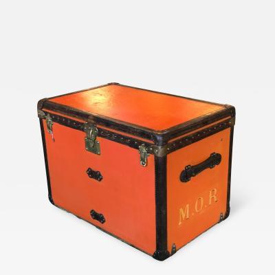 Louis Vuitton Rare Louis Vuitton Orange Trunk with Initials circa 1930s