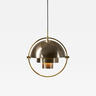 Louis Weisdorf Brass Multi Lite Pendant by Louis Weisdorf for Lyfa Denmark 1972