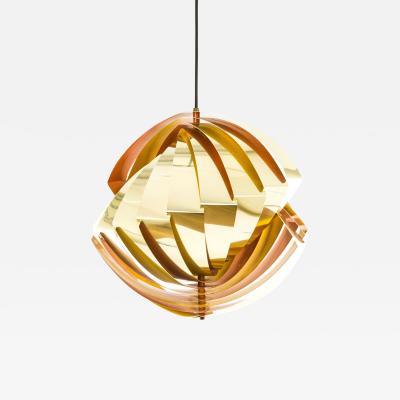 Louis Weisdorf Gold and orange Konkylie pendant by Louis Weisdorf for Lyfa 1960s