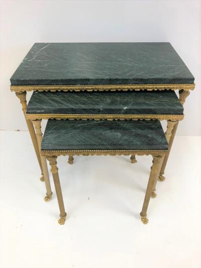 Louis XIV Style Bronze Marble Nesting Tables