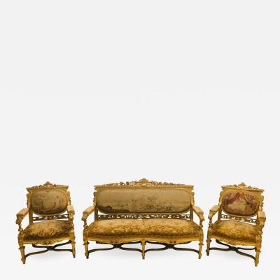 Louis XIV Style Parlor Suite Salon Set Three Piece Giltwood Aubusson