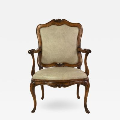 Louis XV Carved Walnut Fauteuil ca 1750 Upholstered In Faux Shagreen Linen